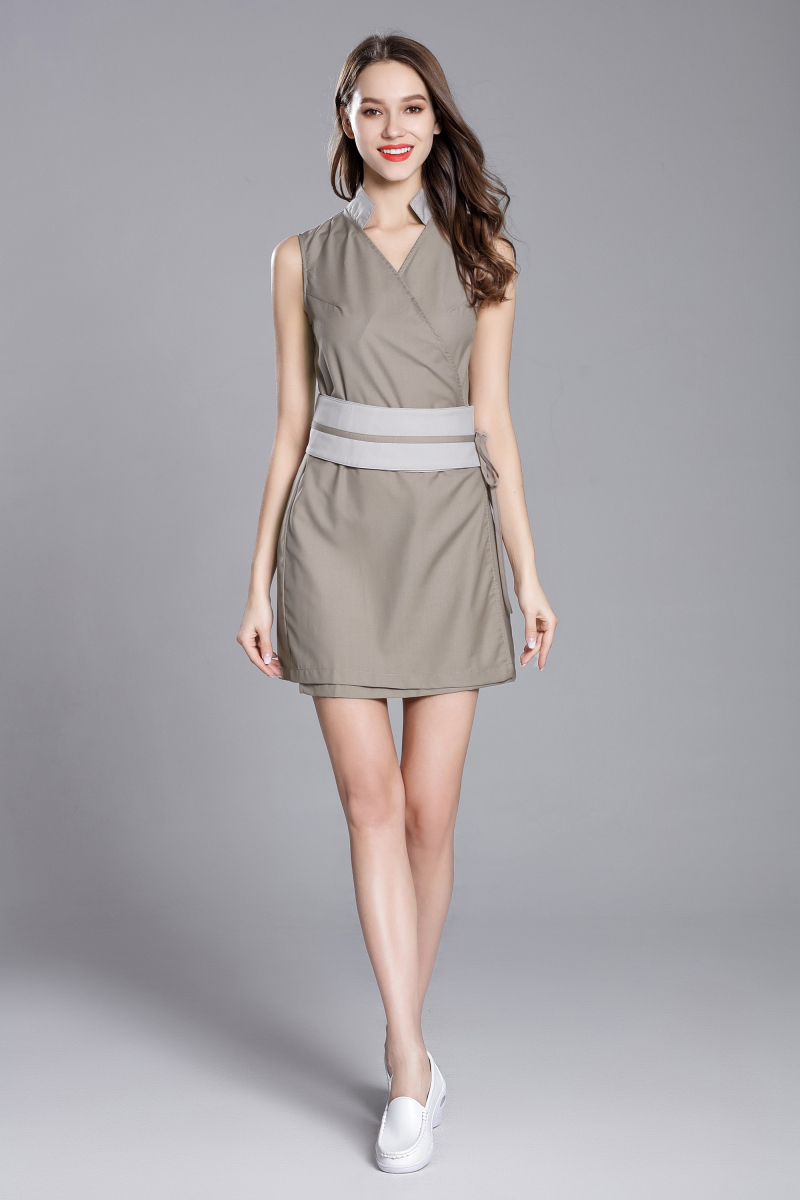 2018 Summer New Slim Fit Stand Collar Nurse Uniform Beauty Spa Skin Care Working Uniform Waist