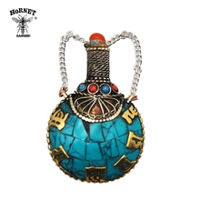 HORNET Huge Thick Tibetan Brass Spoon Snuff Bottle 53MM Metal 8 Turquoise Coral Gemstone Snuff Straw Sniffer Snorter Nasal Pipe hornet huge thick tibetan brass spoon snuff bottle 53mm metal 8 turquoise coral gemstone snuff straw sniffer snorter nasal pipe