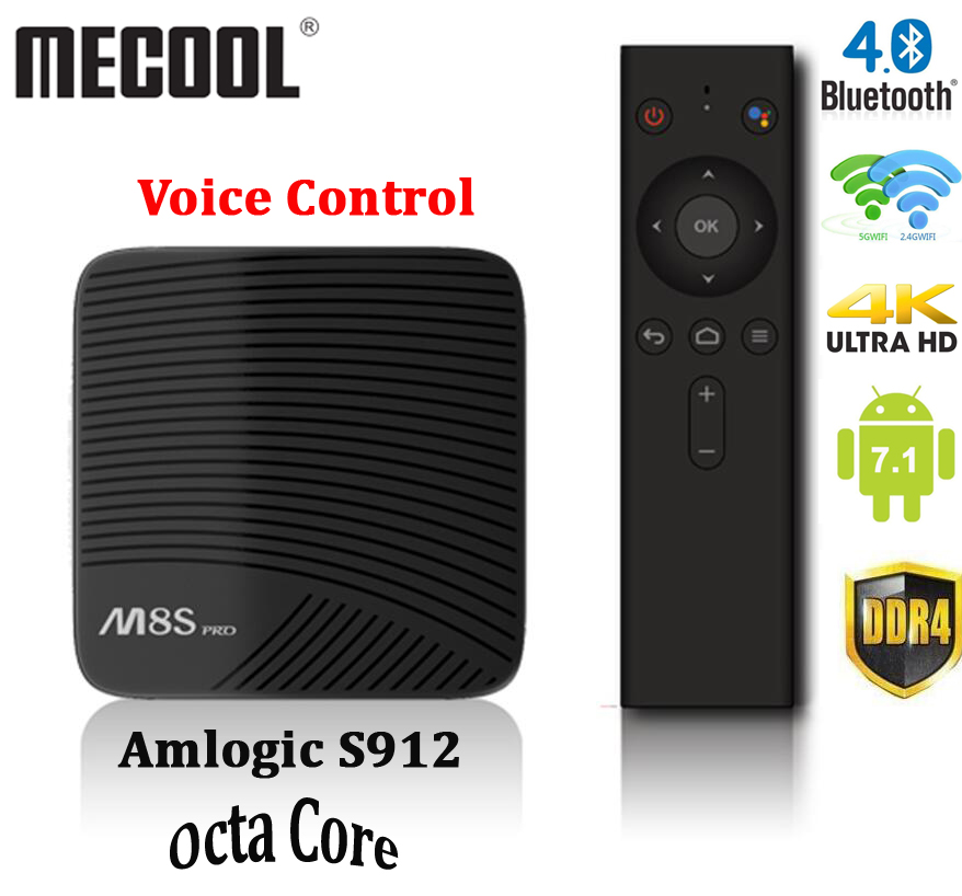 DDR4 Android TV Box Mecool M8S Pro Amlogic S912 octa-core 2GB 16GB 2.4G/5G WiFi BT 4.1 Airplay HD lecteur multimédia VS t95z plus s912