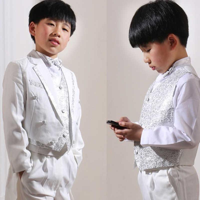 5 個幼児の男の子スーツ白正式なタキシードのロングテール子供の結婚式のパーティースーツ