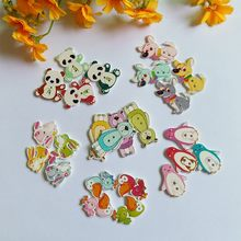 120PCs Mixed color 2 Holes Wooden Buttons For Christmas Decorative Crafts Scrapbooking Supplies DIY Random Color