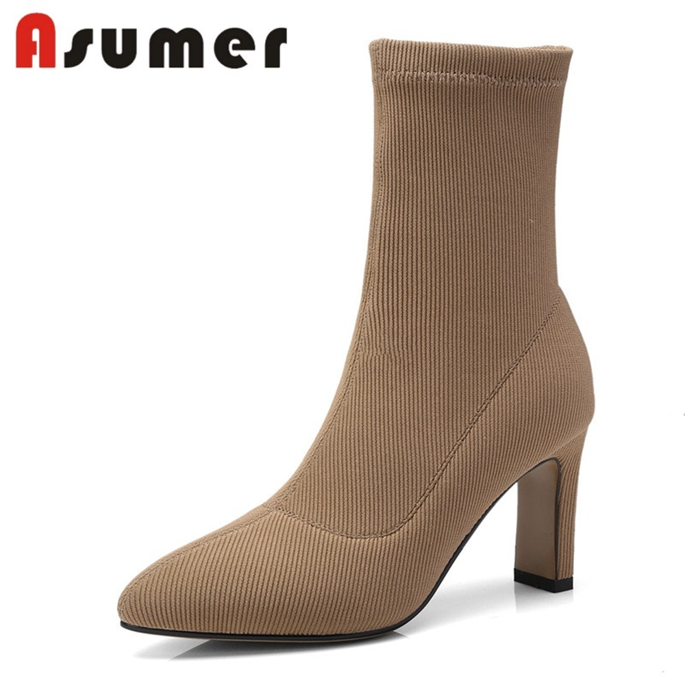 ASUMER 2018 NEW thin high heels ankle boots women thin high heels stretch fabric pointed toe boots casual shoes SIZE 34-42