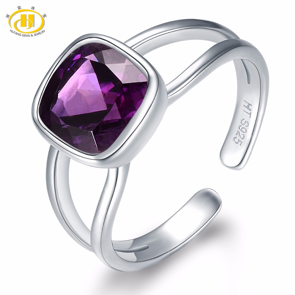 HUTANG Natural African Amethyst Women's Ring Solid 925 Sterling Silver Open Rings Fine Gemstone Jewelry New Arrival for Gift
