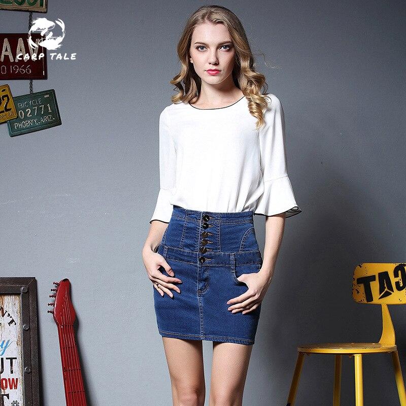 On Sale 2019 Summer Sexy Womens Vintage A-Line Pencil Jeans Skirt Front Button High Waist Denim Skirt Female Ladies Carp Tale