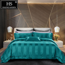 HS 140S High Density Green Striped Crown Jacquard 4pcs Bedding Sets Luxury 100% Cotton Bed Linen Set Queen King Size Bedclothes