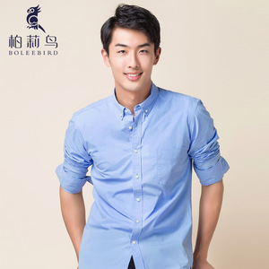 Image 2 - Erkek çizgili % 100% pamuk Oxford uzun kollu elbise gömlek göğüs cebi ile standart fit akıllı Casual düğme aşağı gömlek