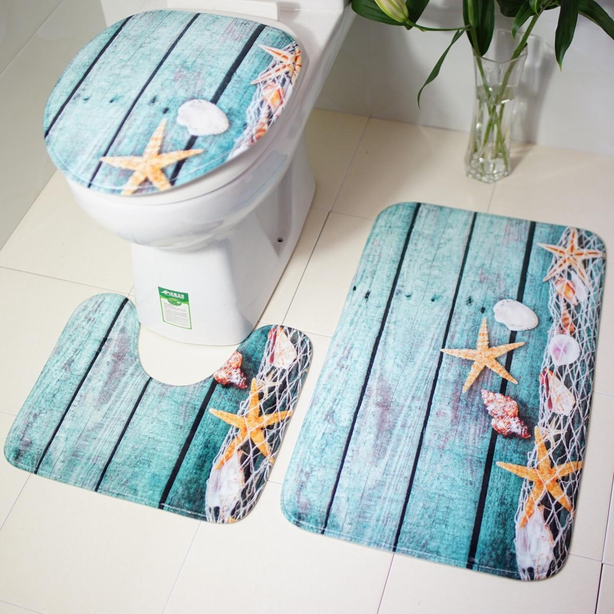 3pcs Floor Five Pointed Star Bathroom Rug Set Non Slip Bath Mat Contour Lid