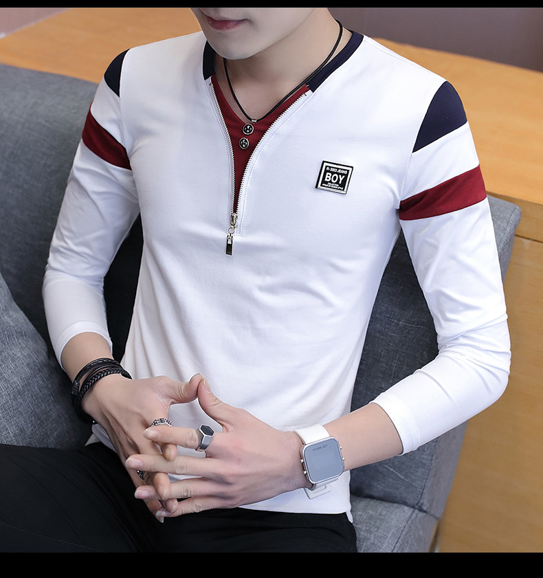 2019 Spring T-Shirt Men Long Sleeve Casual Zipper T Shirts Self-cultivation Design Simple T Shirt Brand New Round Neck Homme 15