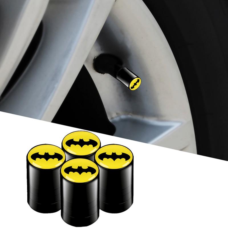 BATMAN New USA Fast Ship 4pcs Flying Bat Man Like Black Color Car Dustproof Caps Tire Wheel Stem Air Valve Caps Cover Car Accessories Compatible Fit For Superhero Car