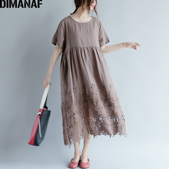 Women Dress Plus Size Summer Cotton Femme Lady Elegant Vestidos Pleated Lace Spliced Solid Black Loose Long Dresses 1