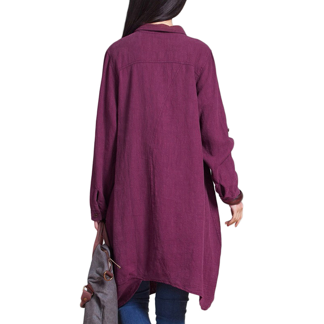 Long Sleeve Blouse Shirts Women tunics Plus Size 3XL 4XL 5XL OL Long Tops Irregular Hem Buttons Loose Casual Vintage Tops female 1