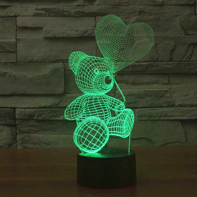 3D Cute Bear USB LED Lamp Baby Night Light 7 colour changes