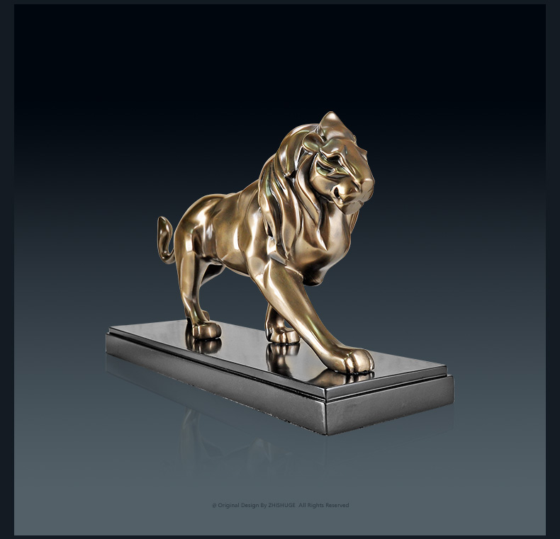 Jemná studená litá pryskyřice a mosazný lev samec lva Wang autorita domácí vybavení kancelářské dekorace řemesla dárky socha sochařství