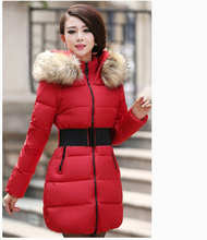 plus size  women's new winter long section of thick padded down jacket large fur collar coat