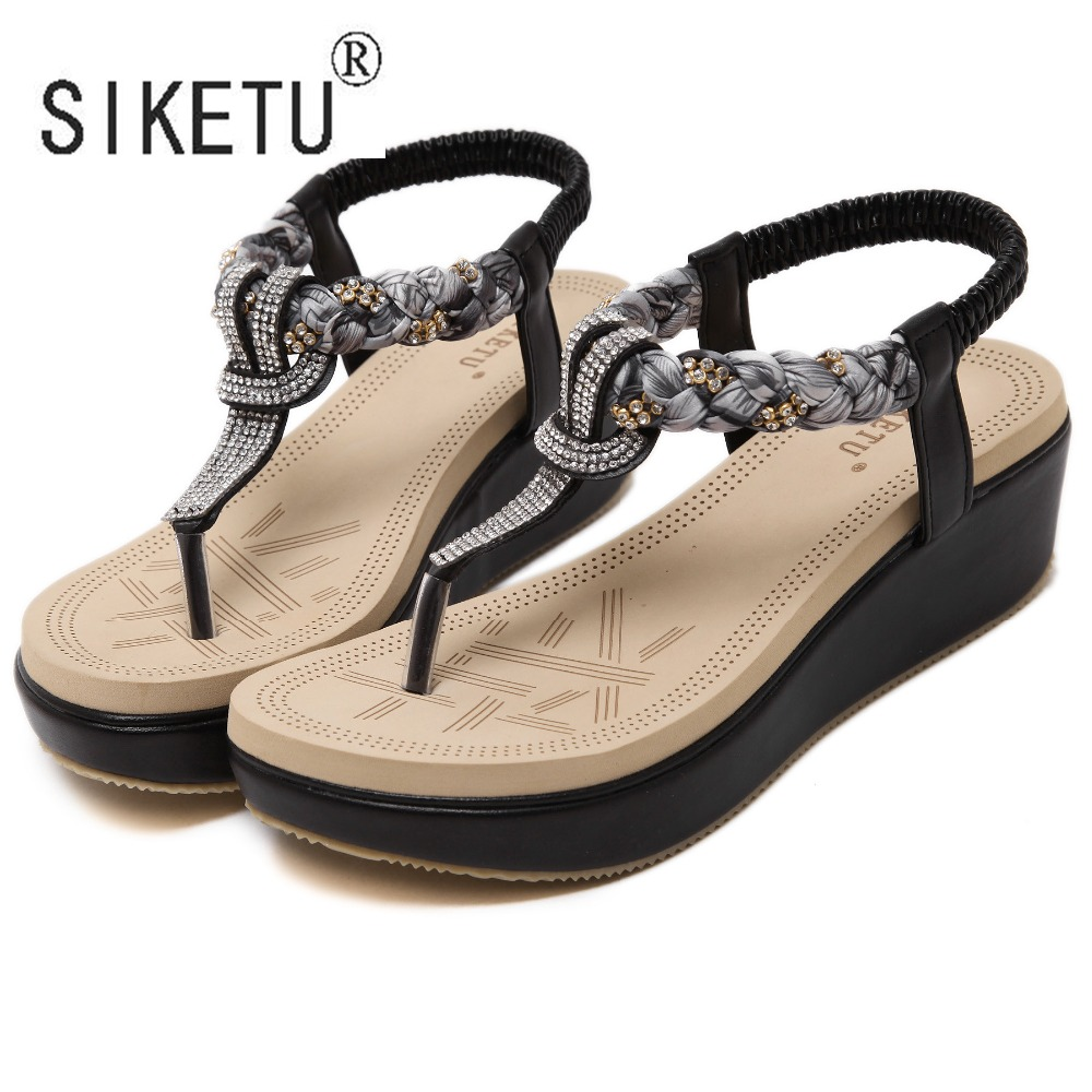 SIKETU Sandals Rhinestone Beach-Shoes 5cm-Heels Summer Women New-Fashion Brand with Leisure