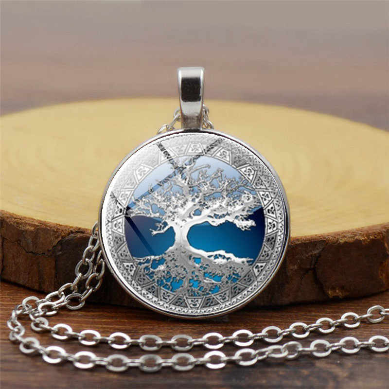 Hot Tree of Life Crystal Round Small Pendant Necklace Gold Silver Colors Bijoux Collier Elegant Women Jewelry Gifts