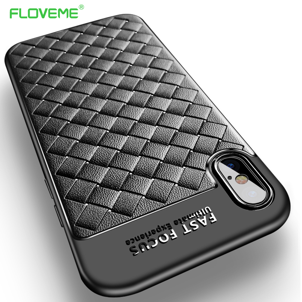 Galleria fotografica FLOVEME Luxury Grid Case For iPhone 6 6S iPhone 7 8 Plus Ultra Thin Silicon Capinhas For iPhone X 6 6s Phone Cases Accessories