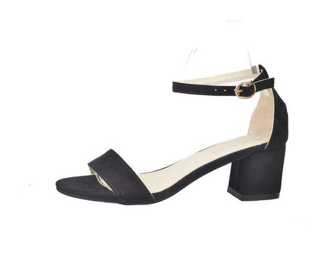 ec0240b1bb32 Fashion PU Leather Chunky Heeled SandalS Sexy One Strap Ankle Strap Sandal  For Woman Summer Cut