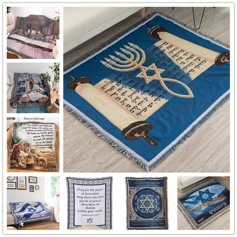 Israel Prayer Blanket Carpet Tapestry Sofa Knit Throw Towel Christian Gift Livingroom Bed Blanket Middle East