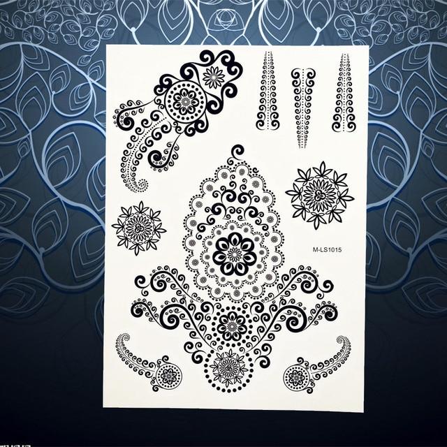 1 Pc Perhiasan Desain Unik Bunga Tinta Mehndi Henna Tato Hitam Tahan