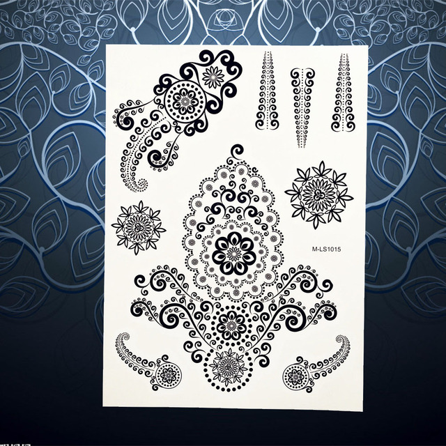 1pc Unique Flower Henna Tattoo Black Ink Mehndi Jewelry Design