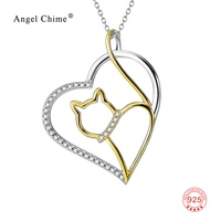 100 Real Pure 925 Sterling Silver Jewelry CZ Crystal Heart Necklace Wholesale 18K Gold Plated Cat