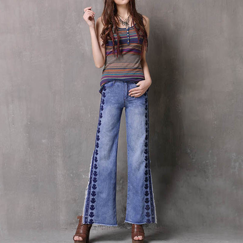 Free Shipping 2018 Wide Leg Vintage Long Pants For Women Embroidery Trousers S-L Denim Side slit Tassels Jeans Spring And Summer 2017 new designer korea men s jeans slim fit classic denim jeans pants straight trousers leg blue big size 30 34