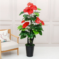 fake plants 155cm auspicious red palm tree living room floor decoration plastic fake artificial flower bonsai greenery