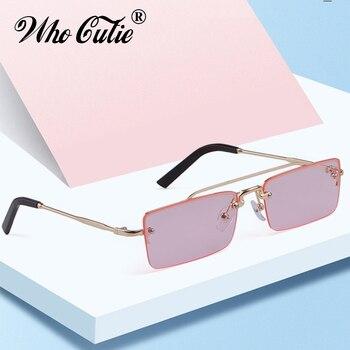f88b43c672 Gafas de sol rectangulares Vintage mujer 2019 diseñador de marca rectángulo  estrecho montura de oro 90 s gafas de sol para mujer OM846
