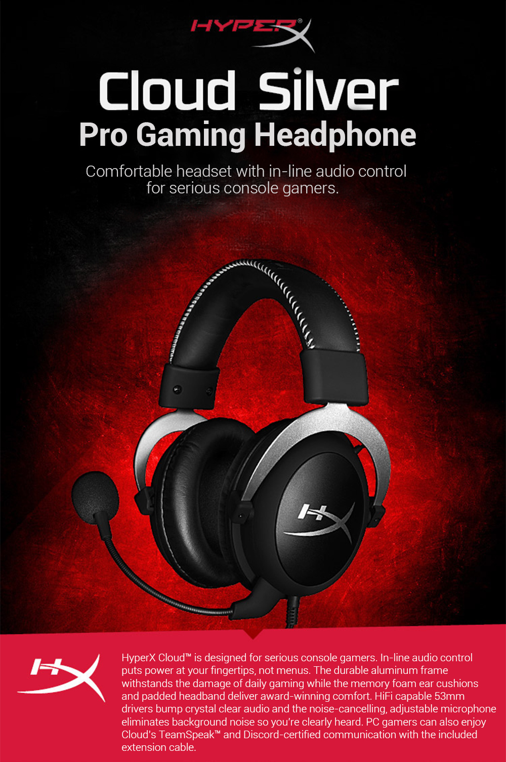 Kingston HyperX Cloud Silver Gaming Headphone with Microphone (11)