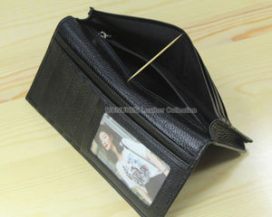 Image 5 - Factory Price Cowhide Genuine leather Mens wallet long clutch Bag Genuine Leather wallet Purse Coin Bag Money Clip Black WL004