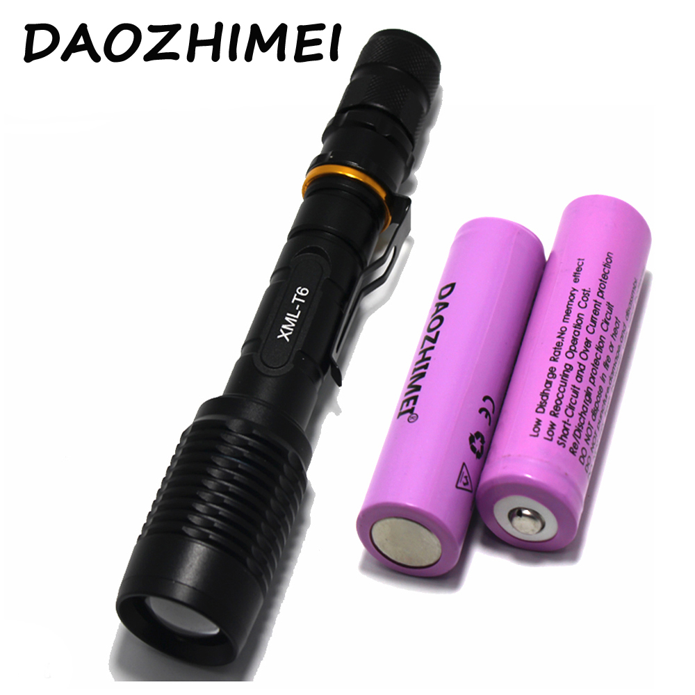 5000LM T6 led police tactical Zoom flashlight Torch Lamp 5 Mode Bike light Portable Lantern+2* 18650 battery+ Charger