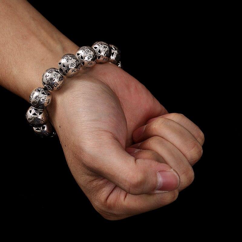 S925 sterling silver retro Thai silver old character wild versatile Buddhist prayer beads men's silver bracelet
