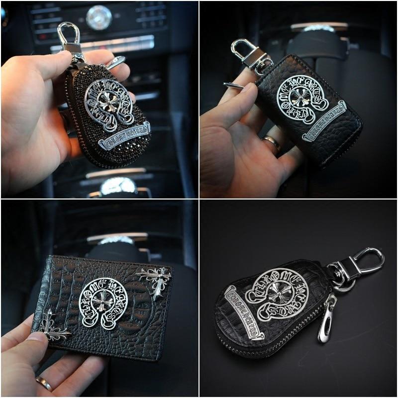 Cool Diamond Chrome Hearts Car Leather Key Case font b Wallets b font Unisex Car Key