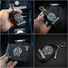 Cool Diamond Chrome Hearts Car Leather Key Case Wallets Unisex Car Key Holders Women Zipper Key Pouch Bag Housekeeper