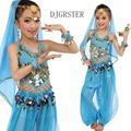 Child Girl Yellow Blue Pink Red Oriental Dancing Bellydance Wear Bellydance Dress Belly Dancing Clothes Top&Pants For Kids