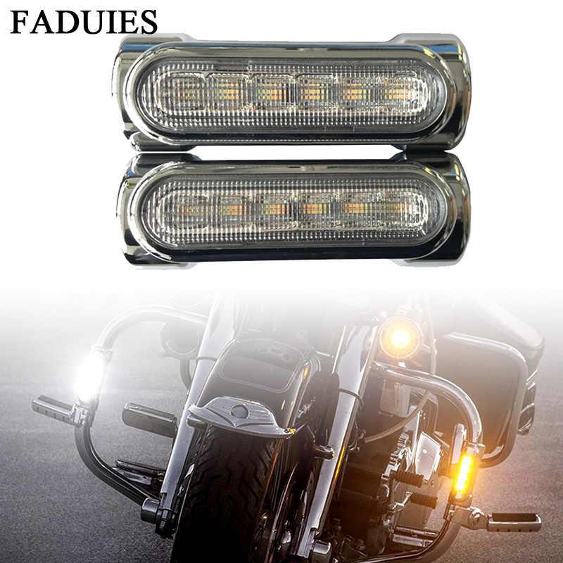 Faduies para a vitória barras de colisão acessórios da motocicleta barra estrada switchback condução luz âmbar branco led para harley touring