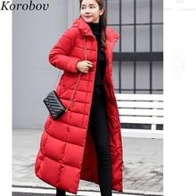 2999537bd819 Korobov X-длинное пальто куртка с меховым капюшоном куртки Карманы женские  парки Mujer корейские женские