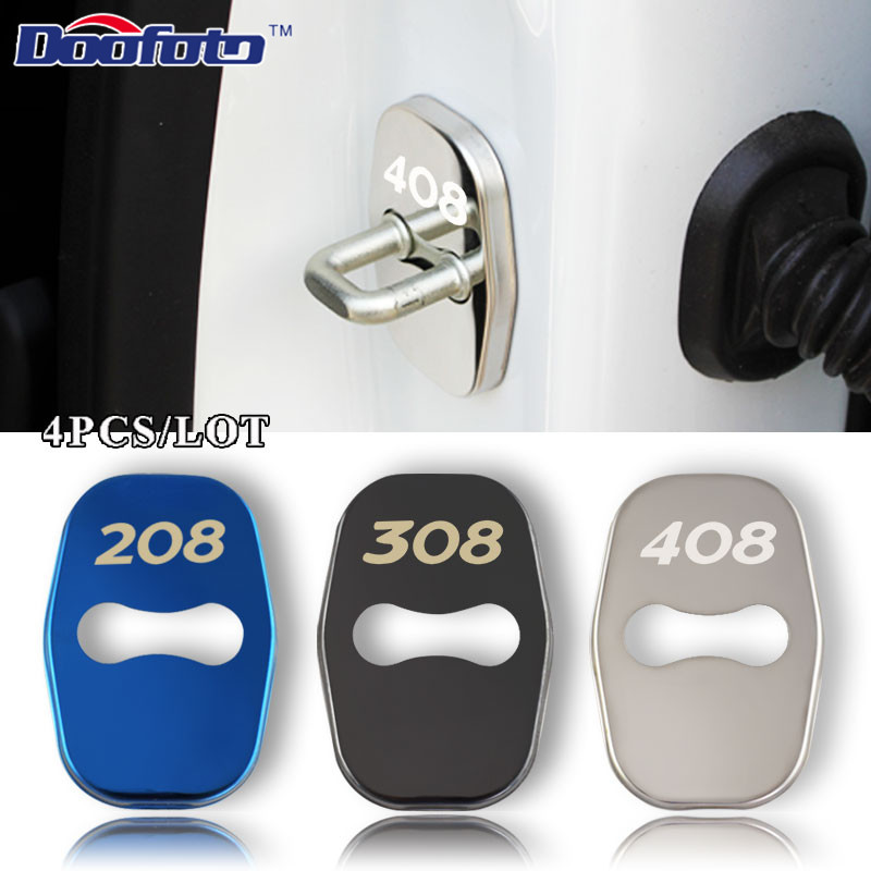 Doofoto Car Styling Auto Protection Door Lock Cover Case For Peugeot 208 308 408 508 2008 3008 Car Badge Accessories Car-Styling