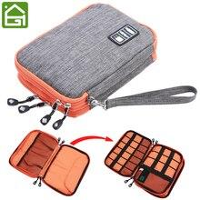 Водонепроницаемый 2 Слои USB кабель, сумка для хранения электронный органайзер цифровой гаджет Футляр телефона заряжать мобильные Зарядное устройство Держатель