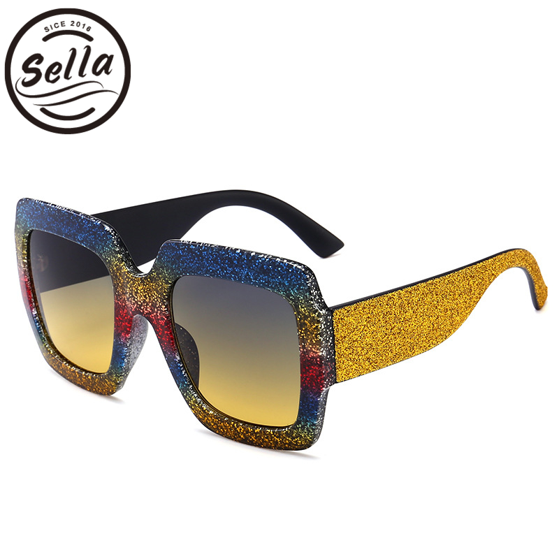 Sella 2018 New Fashion Women Men Oversized Square Sunglasses Brand Designer Pearl Effect Multi-Color Candy Colorful Sun Glasses
