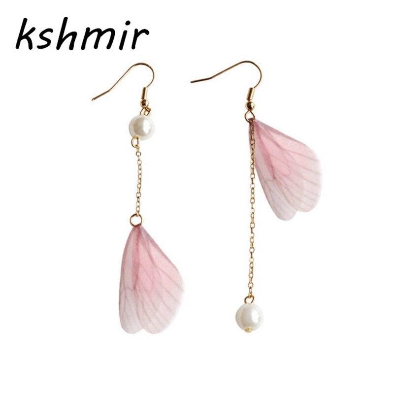 kshmir Sweet butterfly wings pearl long asymmetric character only beautiful women earrings