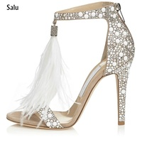 Bling bling bridal wedding shoes glitter rhinestone embellished feather tassel high heels sexy peep toe crystal sandals woman