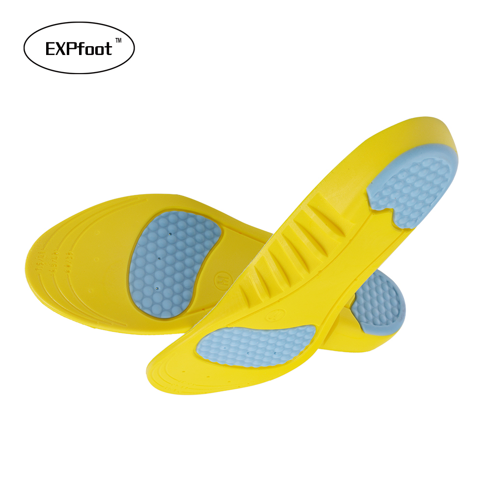 EXPfoot PU Silicone Gel Sports insoles Running Massage Pain Relief Support Shoes Insoles Insert Pads Cushion 054