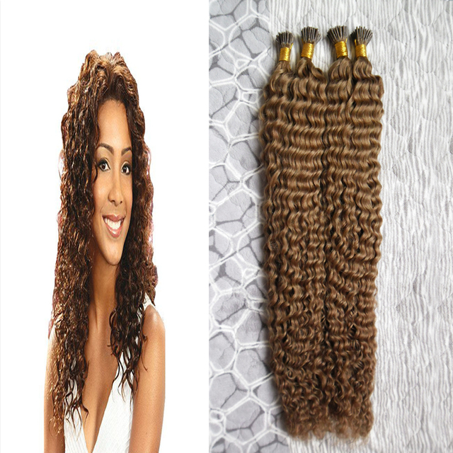 200g Pre Bonded Hair Extensions Human Light Brown Curly I Tip Hair