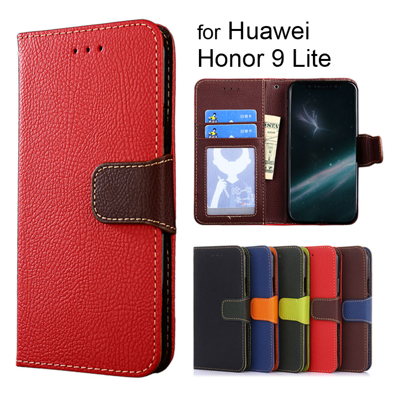 Wallet case for Huawei Honor 9 Lite 5.65inch Litchi pattern PU leather & soft TPU cover coque Hit color design fashion style