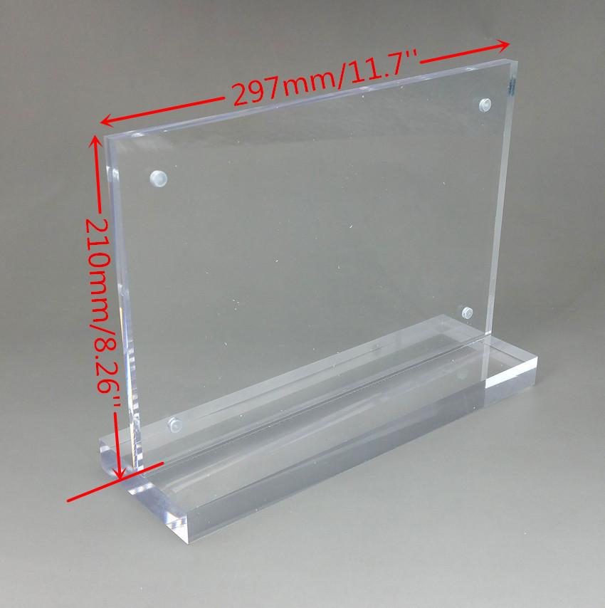 297x210 мм А4 прозрачный акриловый знак дисплей бумага карты метки держатель Т горизонтальные подставки магнитом сосал рабочего стола 50 шт. квалифицированных
