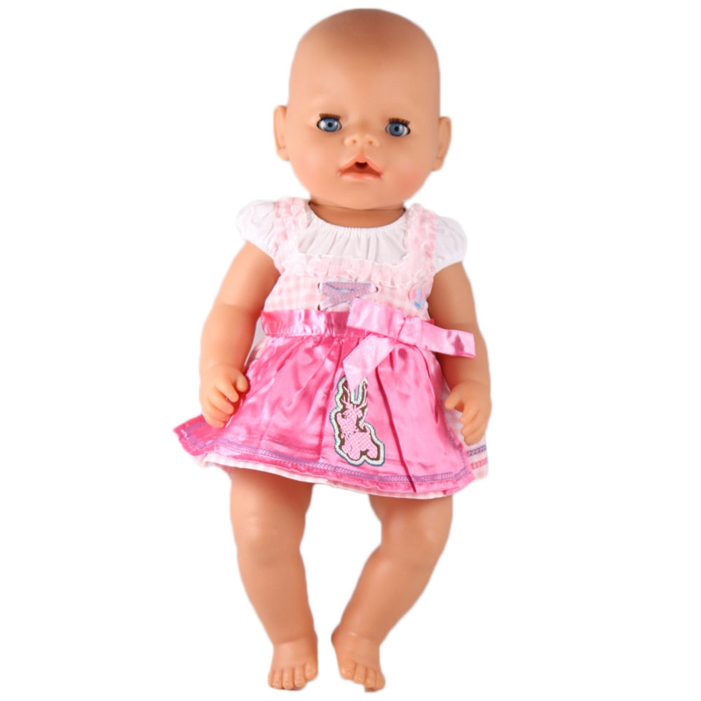 New Style Pink Dress Doll Clothes Wear fit 43cm Baby Born zapf, Children best Birthday Gift AT61 2color choose leisure dress doll clothes wear fit 43cm baby born zapf children best birthday gift only sell clothes