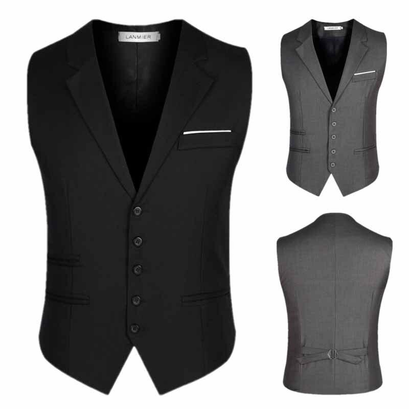 Plus SIze 4XL 5XL 6XL Mens Suit Vests Single Breasted British Classic Slim Blazer Neck Dress Vest Leisuer Men Waistcoats