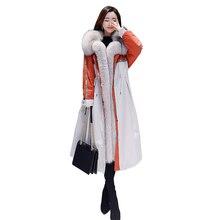 New Fashion Women Faux Fur Parkas Coats Fur Collar Plus Size Long Cotton Jacket Ladies Plus Velvet Warm Winter Parka Female Coat цена 2017